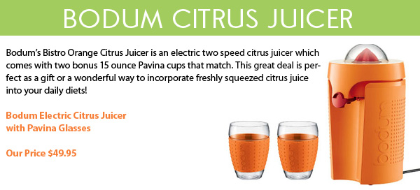 Bodum Electric Citrus Juicer with Bonus Glasses!