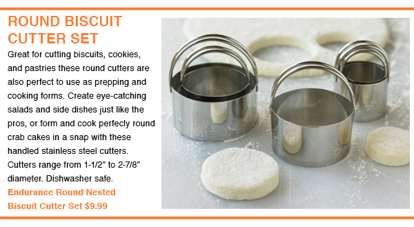 Biscuit Cutter Set Nests For Compact Storage.