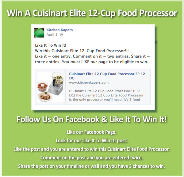 Win A Cuisinart Elite 12-Cup Food Processor - Like It To Win It on Facebook!