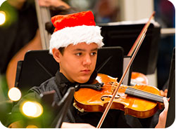 Violinist from Chain of Lakes Middle School Orchestra
